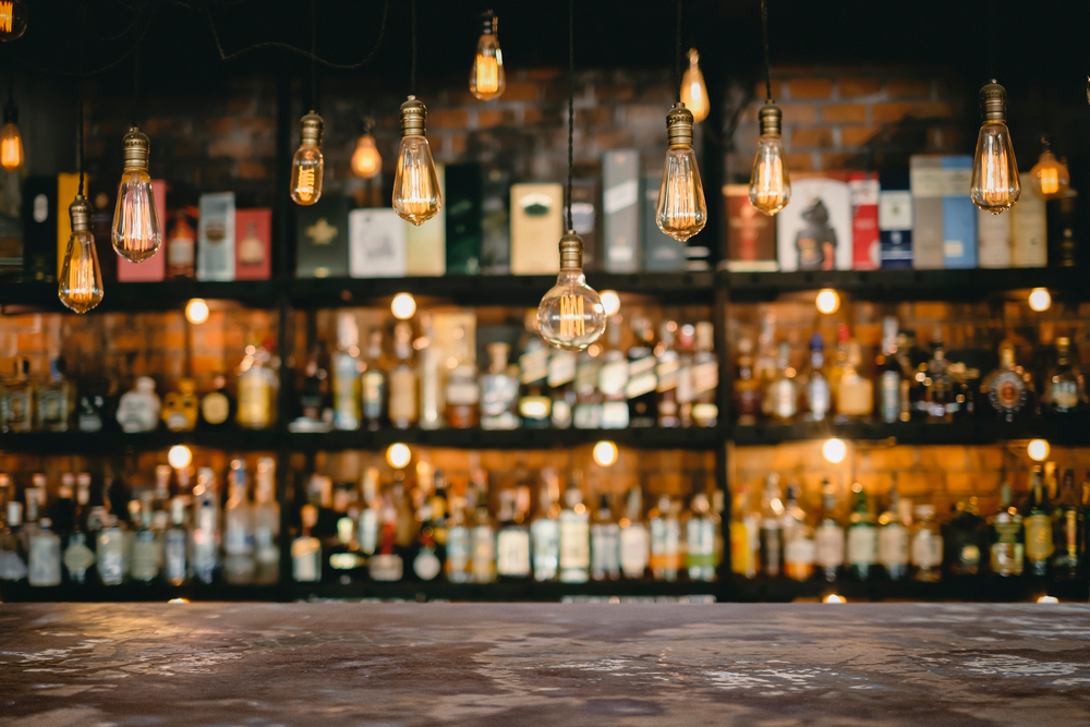 Bar table with hanging lights